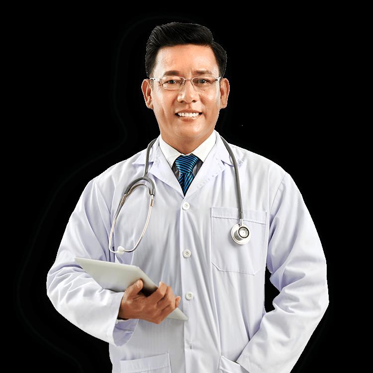 Médico sorrindo e segunrando um tablet